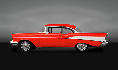 Photograph - 1957 Chevrolet Bel Air Sport Coupe  -  1957chevybelairsportcoupegray172041 by Frank J Benz