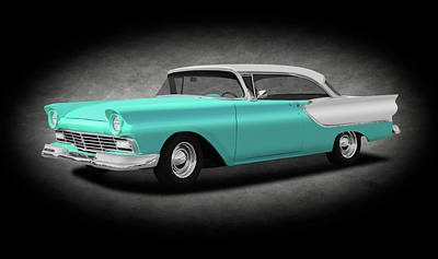Photograph - 1957 Ford Fairlane Club Victoria, Model 63b  -  1957fordfairlaneclubvictoriatexture156485 by Frank J Benz