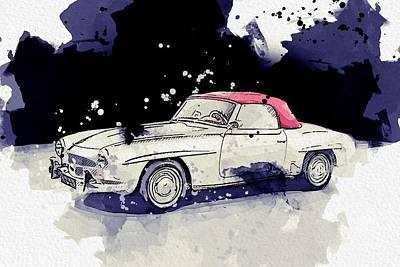 Sports Paintings - 1957 Mercedes-Benz SL 190 watercolor by Ahmet Asar by Ahmet Asar