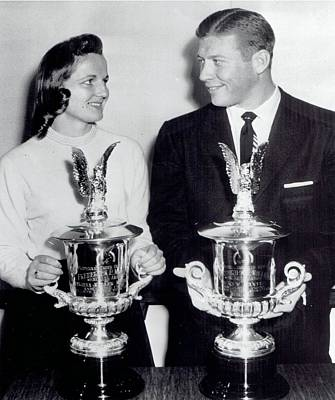 Sports Paintings - 1957 Wire Photo Yankees Mickey Mantle Pat McCormick Recieve AP Awards Trophies by Celestial Images