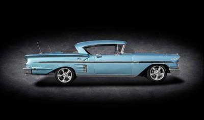 Photograph - 1958 Chevrolet Impala Hardtop  -  1958chevroletimpalahdtpspttext186087 by Frank J Benz
