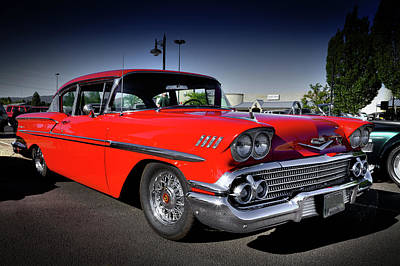 Photograph - 1958 Red Chevrolet Bel Air by David Patterson