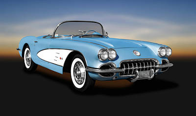 Photograph - 1959 C1 Chevrolet Corvette Convertible  -  1959c1corvetteconvertible186105 by Frank J Benz