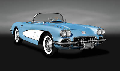 Photograph - 1959 C1 Chevrolet Corvette Convertible  -  1959chevycorvetteconvertiblegray186105 by Frank J Benz