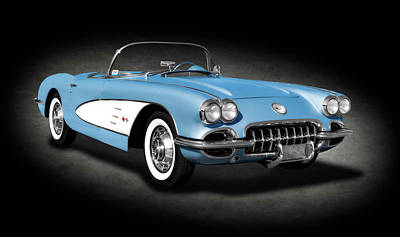 Photograph - 1959 C1 Chevrolet Corvette Convertible  -  1959corvetteconvertiblespttext186105 by Frank J Benz