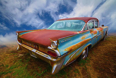 Photograph - 1959 Pontiac In Bright Colors Painting by Debra and Dave Vanderlaan
