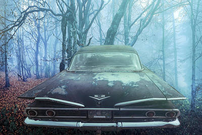 Photograph - 1960 Bel Air In The Fog by Debra and Dave Vanderlaan