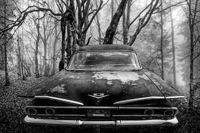 Photograph - 1960 Bel Air In The Woods In Black And White by Debra and Dave Vanderlaan