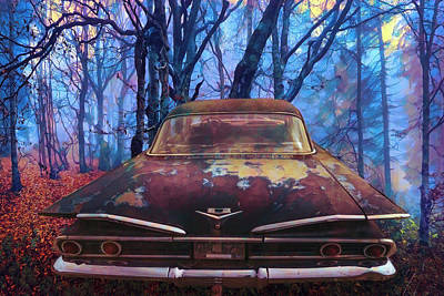 Photograph - 1960 Bel Air In The Woods Painting by Debra and Dave Vanderlaan