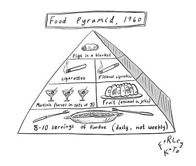 Drawing - 1960s Food Pyramid by Farley Katz