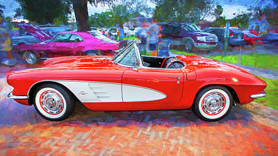 Photograph - 1961 Chevrolet Corvette Convertible 001 by Rich Franco