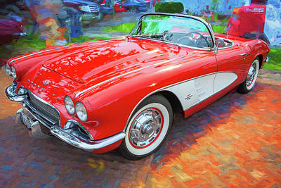 Photograph - 1961 Chevrolet Corvette Convertible 004 by Rich Franco