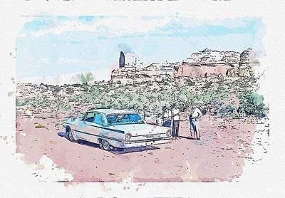 Sports Paintings - 1961 Ford Galaxie watercolor by Ahmet Asar by Ahmet Asar