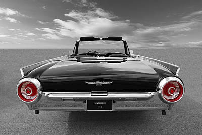 Photograph - 1962 Thunderbird Bw With Red Tail Lights by Gill Billington