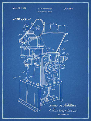 Drawing - 1964 Briquette Press Patent by Dan Sproul