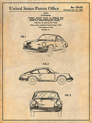 Super Cars Drawing - 1964 Porsche 911 Patent Print Antigue Paper by Greg Edwards