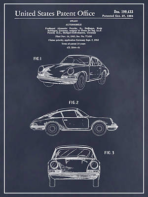 Super Cars Drawing - 1964 Porsche 911 Patent Print Blackboard by Greg Edwards