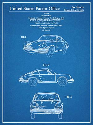 Super Cars Drawing - 1964 Porsche 911 Patent Print Blueprint by Greg Edwards
