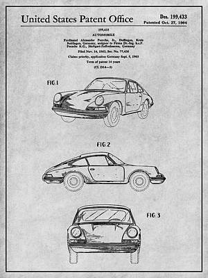 Super Cars Drawing - 1964 Porsche 911 Patent Print Gray by Greg Edwards