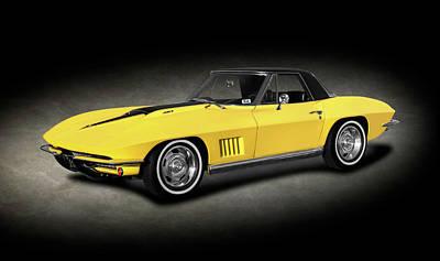 Photograph - 1967 C2 Chevrolet Corvette 427 Convertible  -  1967c2corvette427cvtexture196360 by Frank J Benz
