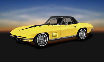 Photograph - 1967 C2 Chevrolet Corvette 427 Convertible  - 1967c2corvette427convertibnle196360 by Frank J Benz