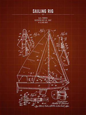 Kim Fearheiley Photography - 1967 Sailing Rig - Dark Red Blueprint by Aged Pixel
