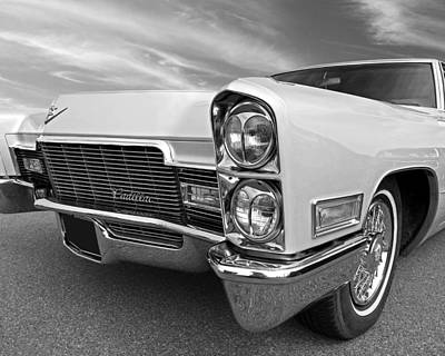 Photograph - 1968 Cadillac Coupe De Ville Headlights And Grille In Mono by Gill Billington