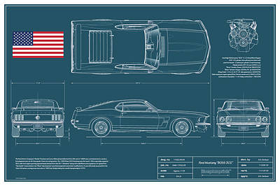 Sport Car Drawing - 1969 Boss 302 Blueplanprint by Douglas Switzer