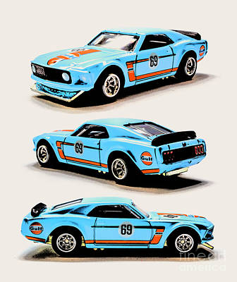 Automotive Paintings Royalty Free Images - 1969 Ford Mustang Boss 302 Royalty-Free Image by Jorgo Photography - Wall Art Gallery