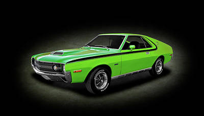 Photograph - 1970 Amc Amx 390 Cubic Inch 4-speed  -  1970amcamxgreenspottext166953 by Frank J Benz