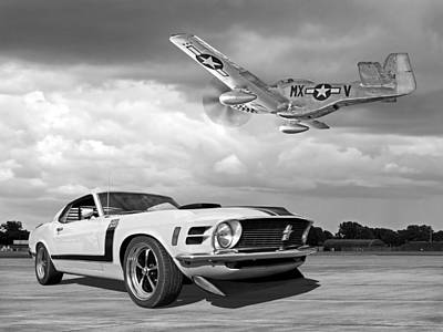 Photograph - 1970 Boss 302 Mustang With P-51 Black And White by Gill Billington