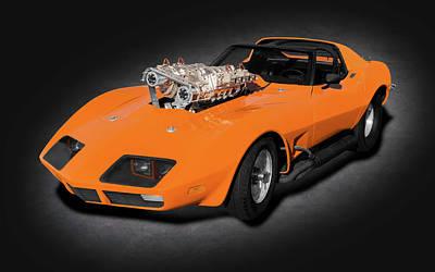 Photograph - 1973 C3 Chevrolet Corvette Stingray T-top  -   1973c3vettetwinblowerspttext185980 by Frank J Benz