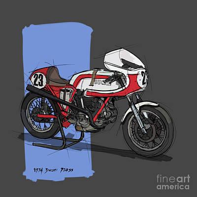 Digital Art - 1974 Ducati 750SS Original Handmade Sketch by Drawspots Illustrations