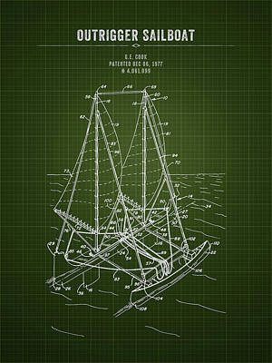 Giuseppe Cristiano Royalty Free Images - 1977 Outrigger Sailboat - Dark Green Blueprint Royalty-Free Image by Aged Pixel