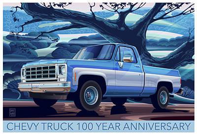 1980 Chevy Custom C10 Short Bed Poster Art Original
