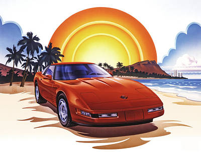 Sports Paintings - 1989 Corvette Sunset by Garth Glazier