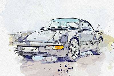 Sports Paintings - 1993 Porsche 911   964 Turbo watercolor by Ahmet Asar by Ahmet Asar
