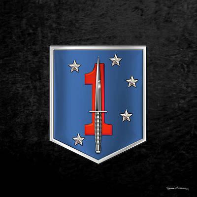 Digital Art - 1st Marine Raider Battalion - 1st Marine Special Operations Battalion M S O B  Patch Over Black by Serge Averbukh