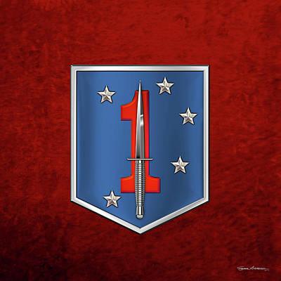 Digital Art - 1st Marine Raider Battalion - 1st Marine Special Operations Battalion M S O B  Patch Over Red Velvet by Serge Averbukh