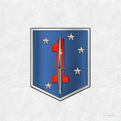Digital Art - 1st Marine Raider Battalion - 1st Marine Special Operations Battalion M S O B  Patch White Leather by Serge Averbukh