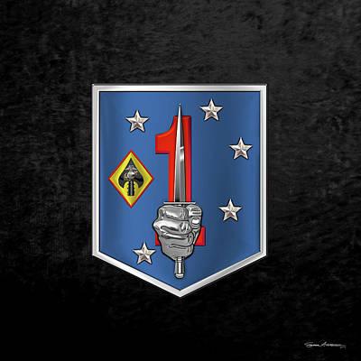 Digital Art - 1st Marine Raider Support Battalion  -  1st  M R S B  Patch Over Black Velvet by Serge Averbukh