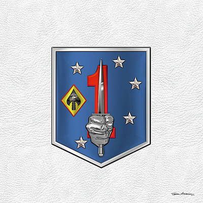 Digital Art - 1st Marine Raider Support Battalion  -  1st  M R S B  Patch White Leather by Serge Averbukh