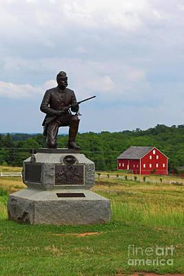 Photograph - 1st Pennsylvania Cavalry Monument Cemetery Ridge Gettysburg by James Brunker