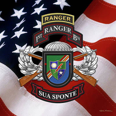 Digital Art - 1st Ranger Battalion - Army Rangers Special Edition Over American Flag by Serge Averbukh