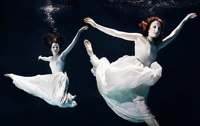 Photograph - 2 Ballet Dancers Underwater by Henrik Sorensen