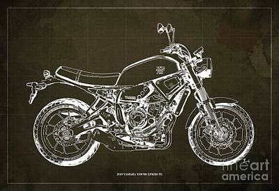 Valentines Day - 2019 Yamaha XSR700 XTribute Original Artwork Gift for bikers Office Decoration by Drawspots Illustrations
