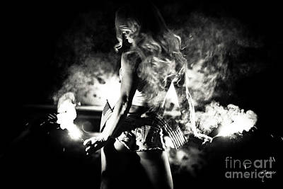 9366 Sexy Blonde Girl Fireworks - Black And White Original