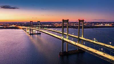 Photograph - Aerial View Of Delaware Memorial Bridge At Dusk. by Mihai Andritoiu