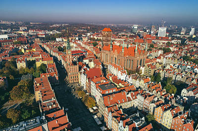 Photograph - Aerial View Of Old Town In Gdansk, Poland. by Michal Bednarek