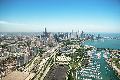 Photograph - Aerial View Of The Downtown In Chicago by Franckreporter